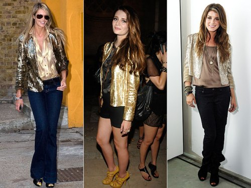 gold-sequin Blazer